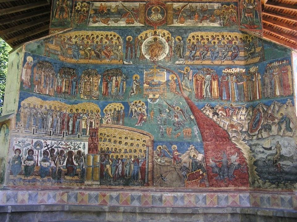 Juicio Final pintura mural oeste Monasterio Voronet Rumania 05