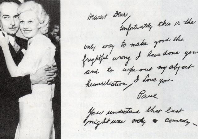 Jean Harlow And Paul Bern With Paul S Alleged Suicide Note