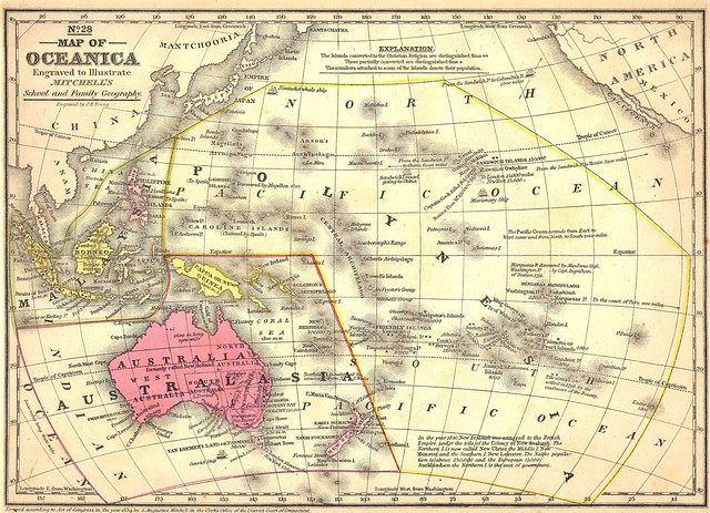 Map of Oceanica, 1884