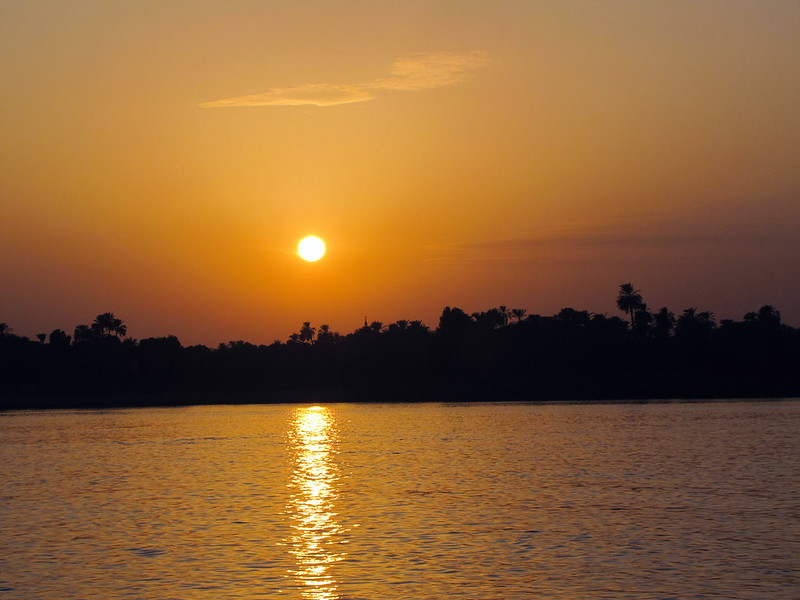 Sunset over the Nile River near Aswan, Egypt