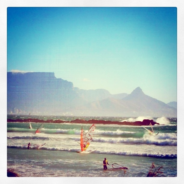 Wind Surfers at Sunset Beach, South Africa
