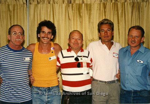 AIDS Quilt at San Diego Golden Hall 1988: (L to R) Jess Jessop, Skip Godsey, Herb King, then Jim and Bill