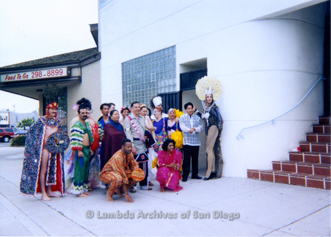 P018.113m.r.t San Diego Pride Parade 1993: Group photo in costumes for parade