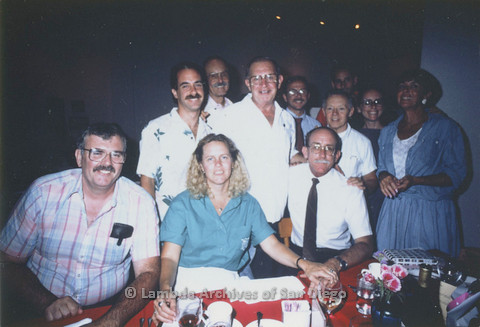 Group shot at Jess Jessop's Birthday party, Jess center seated, Doug Moore far left, January Riddle (far right)