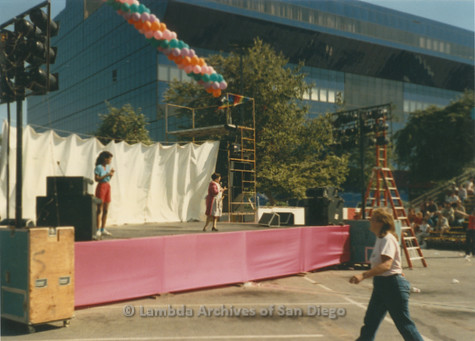 P018.002m.r.t San Diego Pride Festival 1985: Stage set-up