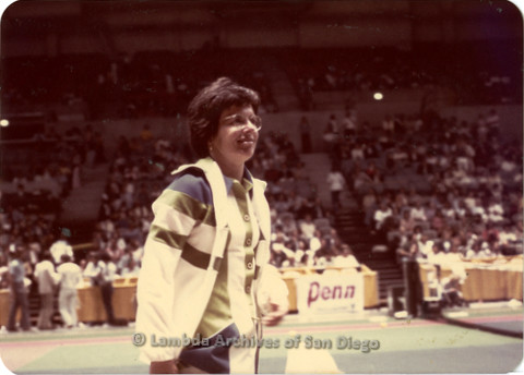 Billie Jean King playing a tennis match in San Diego.