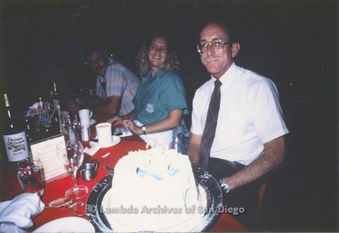 Jess Jessop's birthday party, birthday cake. Doug Moore (left), Jess Jessop (right)