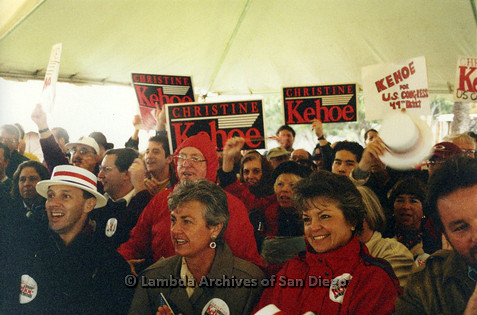 P096.045m.r.t Fundraiser for Christine Kehoe for Congressional Race: Audience rallying with signs
