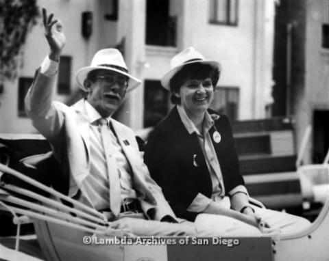San Diego Pride Parade: Jess Jessop and Jeri Dilno Grand Marshalls, 1989