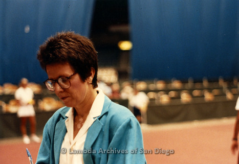 Billy Jean King at a tennis match in San Diego.