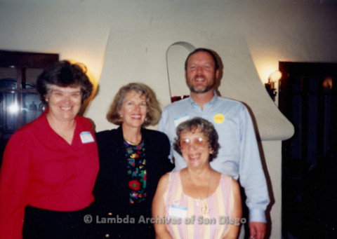 P338.051m.r.t (L to R) Jeri Dilno, Dede Alpert, Gloria Johnson and Charles McKain standing indoors at fundraising event