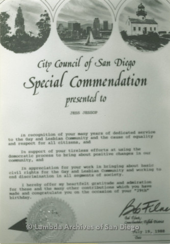 Award from the City Council of San Diego commending Jess Jessop for his work within the LGBT community