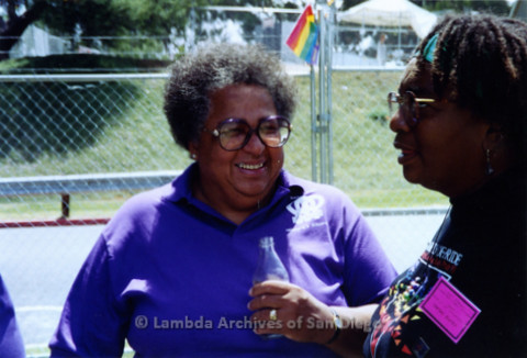 San Diego LGBTQ Pride Festival, 1992, Cynthia Lawrence Wallace (left) Vertez Burks (right)
