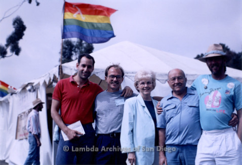 P018.046m.r.t San Diego Pride Festival 1989: People outside of the Lesbian and Gay Archives tent