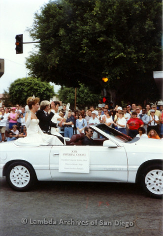 P018.087m.r.t San Diego Pride Parade 1991: XIX Imperial Court car, Bobby Allen, Princess Royale Jhigs, Grand Duchess Brittany