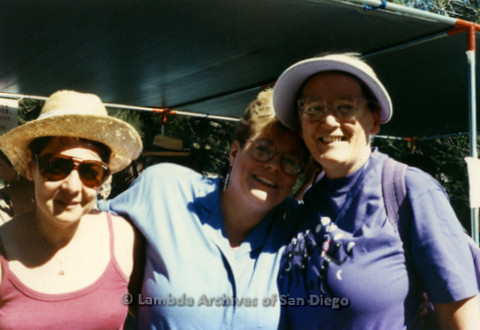 West Coast Women's Music and Comedy Festival in Yosemite, California produced by Robin Tyler. This photo was taken in the late 1980's.(L to R) Judy Reif, Sue Fink (Los Angeles Women's Chorus Director), and Sheila Clark.