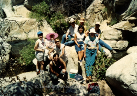 P008.145m.r.t Cuyamaca 1991: Group photo by the river, with Pamela Gusha, Diane F. Germain, Mary Russell, and others