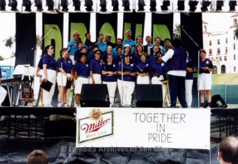 San Diego LGBTQ Pride Festival, 1992, San Diego Women's Chorus and San Diego Men's Chorus Performing together