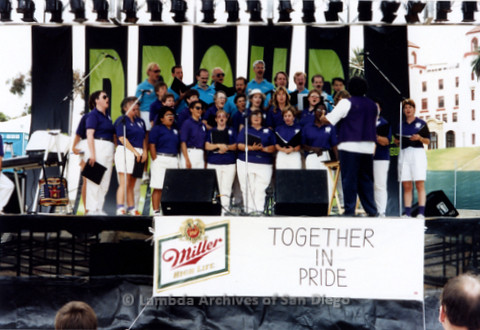 San Diego LGBTQ Pride Festival, 1992, San Diego Women's Chorus and San Diego Men's Chorus Performing together