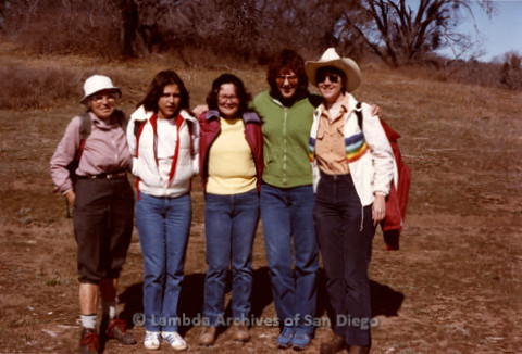 P008.004m.r.t Cuyamaca Fire Roads 1983: Group photo on trail, including Margaret Lewis and Sandy Johnson