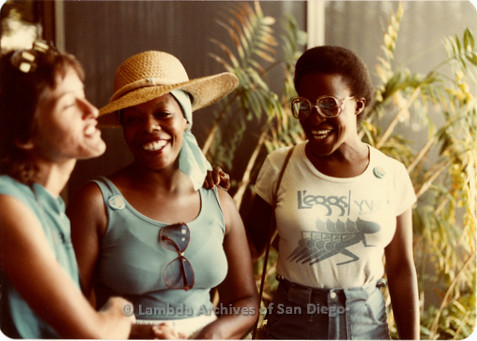 Blood Sisters blood drive, 1983: Three women standing outside Blood Bank