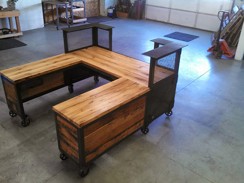 Custom Reception Desk, Reclaimed Wood & Steel, Work Statio