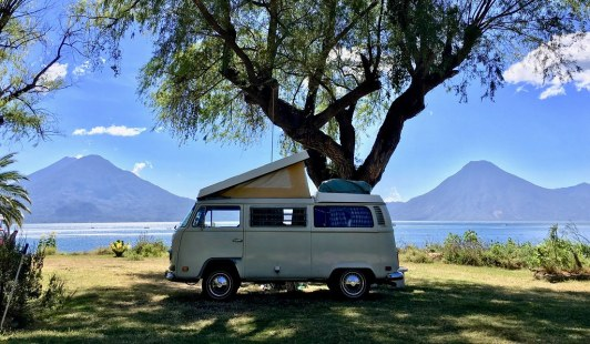 Our bus at Lake Atitlan, Guatemala