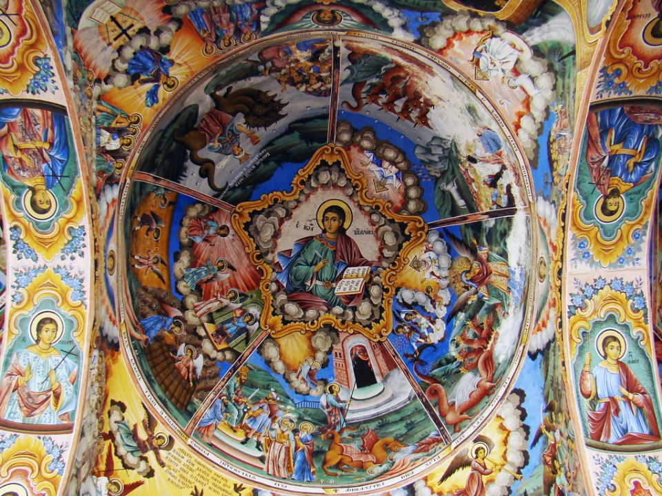 Monasterio de Rila pintura mural al fresco cupula techo Iglesia Bulgaria Patrimonio de la Humanidad Unesco  29