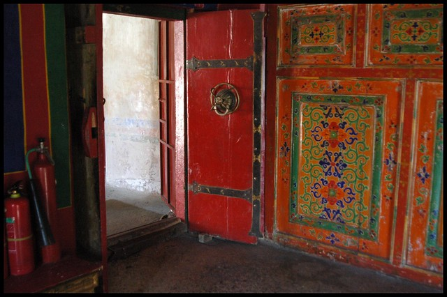 One of the many many doors in  Drepung