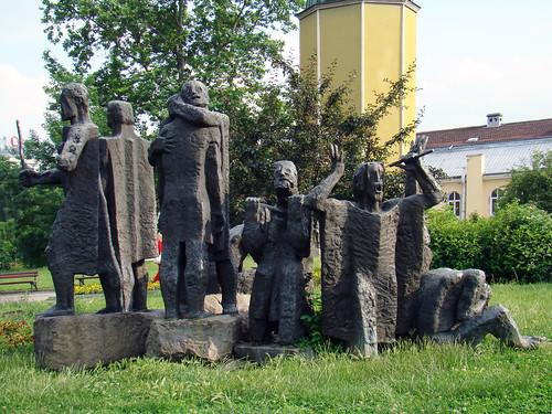 Escultura monumento a los soldados del zar Samuel o Samuil, escultor Alexander Hajtov, en plaza Alexander Nevsky Sofia Bulgaria