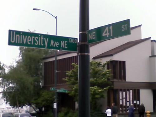 Street sign incorrectly reading University Ave NE instead of University Way NE
