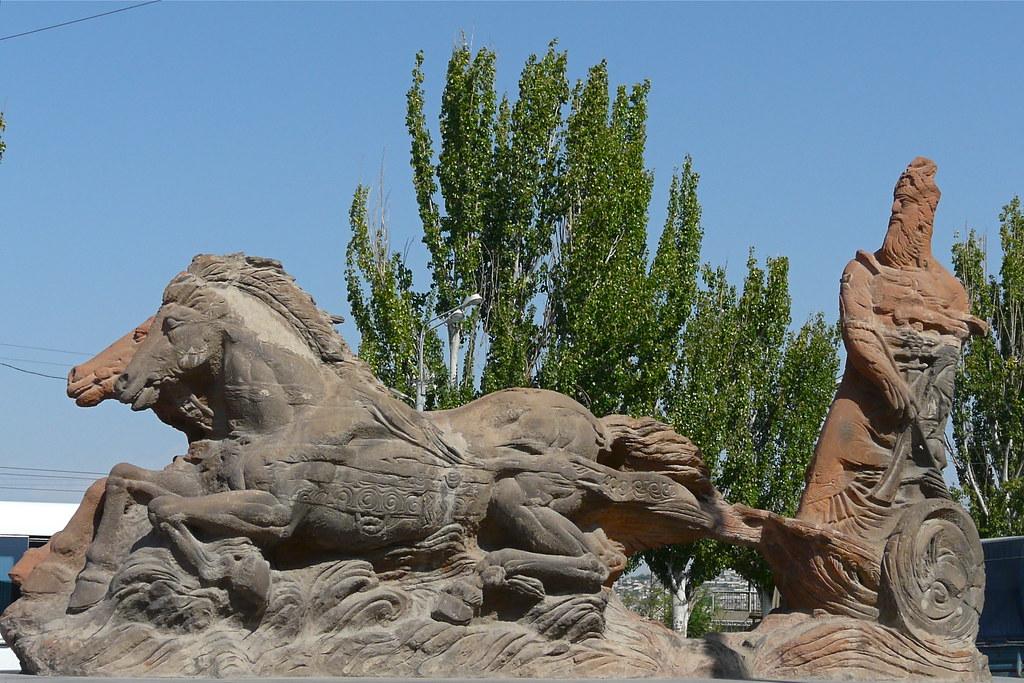 Monument of King Argishti I  in front of Erebuni Museum