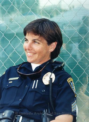 Natalie Stone of San Diego Police Department at San Diego LGBTQ Pride Festival, 1998