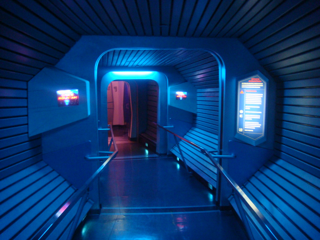 With the removal of the interactive games in favor of the play disney parks app. Inside Space Mountain Disneyland One Part Of The Queue F Flickr