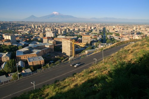Sunrise over Yerevan and Mount Ararat