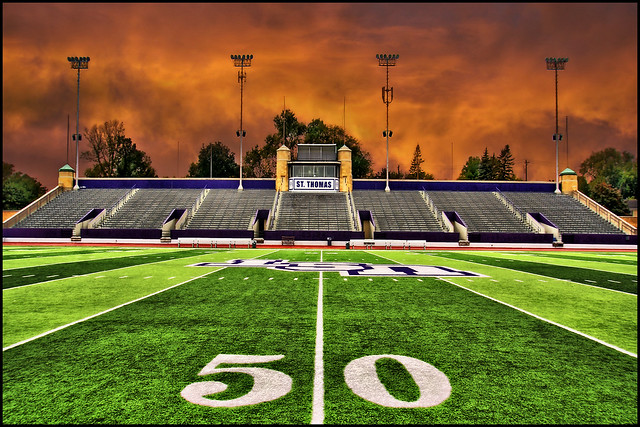 football stadium field 50 yard line - university of st. thomas - minnesota
