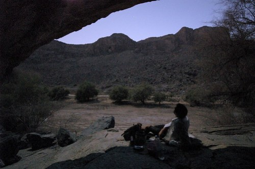 Cooking in a cave by moonlight