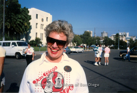 P116.001m.r.t San Diego Walks For Life 1986: Susan Jester smiling at camera