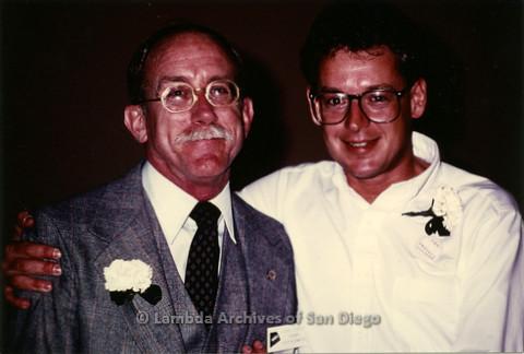 P019.074m.r.t AIDS Quilt at San Diego Golden Hall 1988: Jess Jessop smiling with Cleve Jones