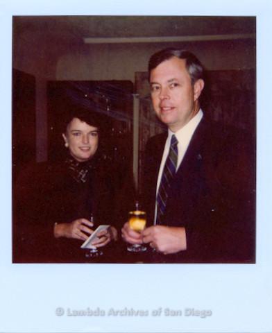 P338.062m.r.t Maureen O'Connor and John Van de Kamp at a Van de Kamp fundraiser