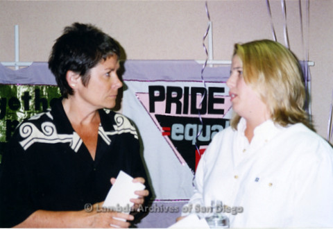 Kate Clinton (left) with Chastity Bono (right), later known as Chaz Bono, during a San Diego Pride Event at The LGBT Community Center on Normal Street.