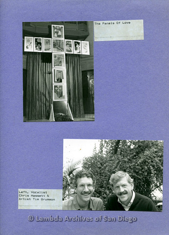 """P126.050m.r.t Page with photos of """"Panels of Love,"""" Chris Hassett and Tim Grummon"""