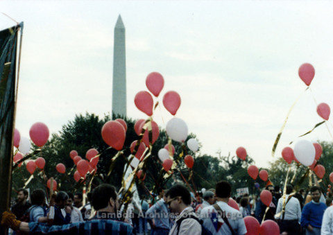 P019.240m.r.t Second March on Washington 1987: Crowd of protesters with Washington Monument in background