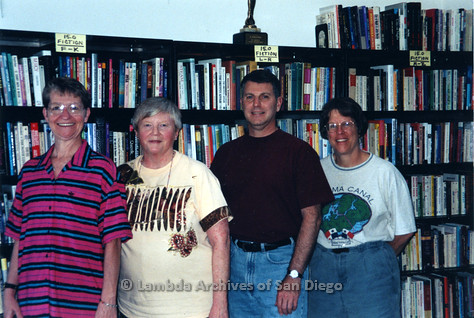 P243.005m.r.t Sharon Parker (left), Dennis Fiordaliso and two other women at Lesbian and Gay Archives of San Diego