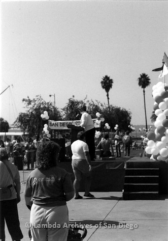 P116.027m.r.t San Diego Walks For Life 1986: Susan Jester speaking at podium with woman in foreground