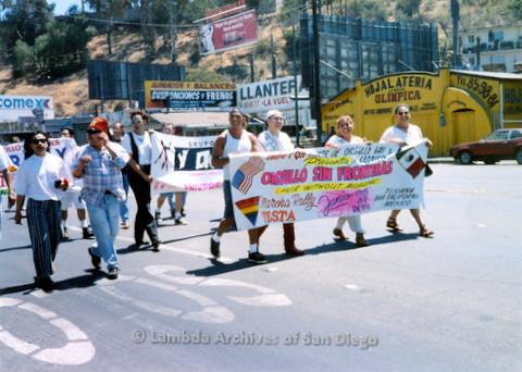 P018.142m.r.t Tijuana Pride Parade 1996: Orgullo Sin Fronteras banner