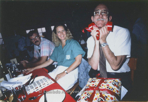 Jess Jessop's birthday,  (Doug Moore left, Jess Jessop right), c.1989