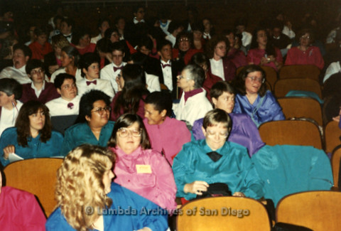 """""""The Magic Music Makes"""" San Diego Women's Chorus (SDWC) first choral festival with Sister Singers 1991: SDWC and other Festival groups sitting in the audience."""