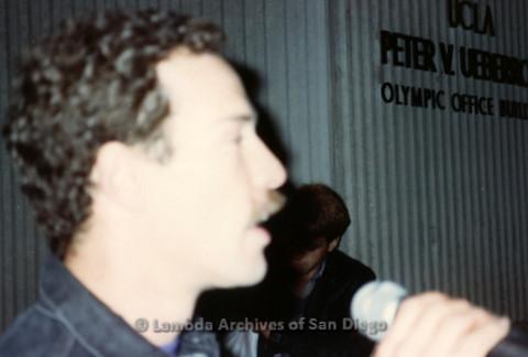 """P019.345m.r.t Los Angeles """"Die In"""" 1988:  Man speaking into microphone"""