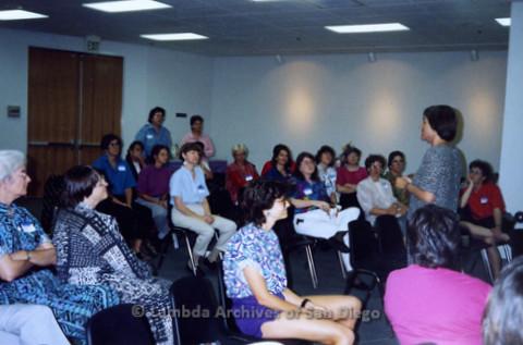 P341.006m.r.t Women's Caucus meeting: Roberta Achtenberg speaking in front of audience